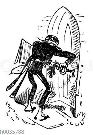 Lehrer Lämpel an der Kirchentür