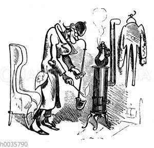 Lehrer Lämpel zündet seine Pfeife an