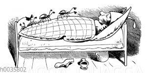 Max und Moritz: Maikäfer im Bett von Onkel Fritz