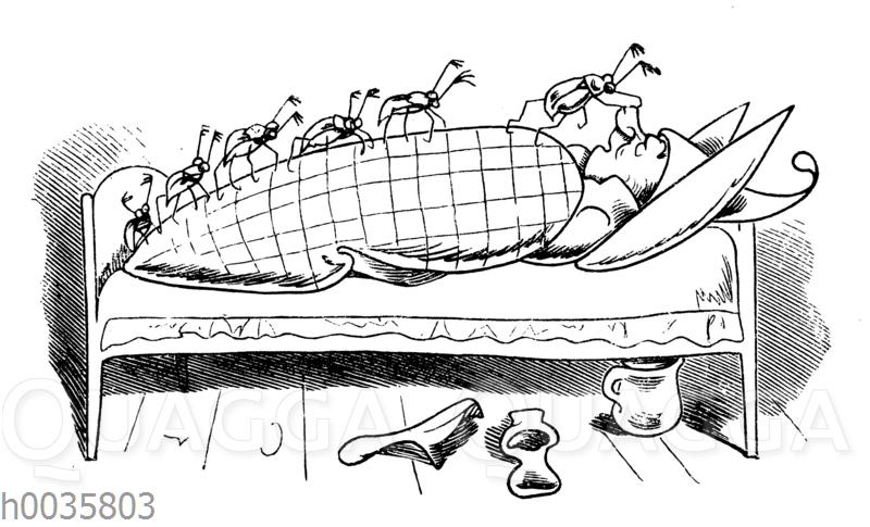 Max und Moritz:: Maikäfer im Bett von Onkel Fritz