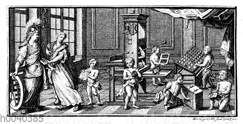Buchdruckpresse in der Mitte des 18. Jahrhunderts