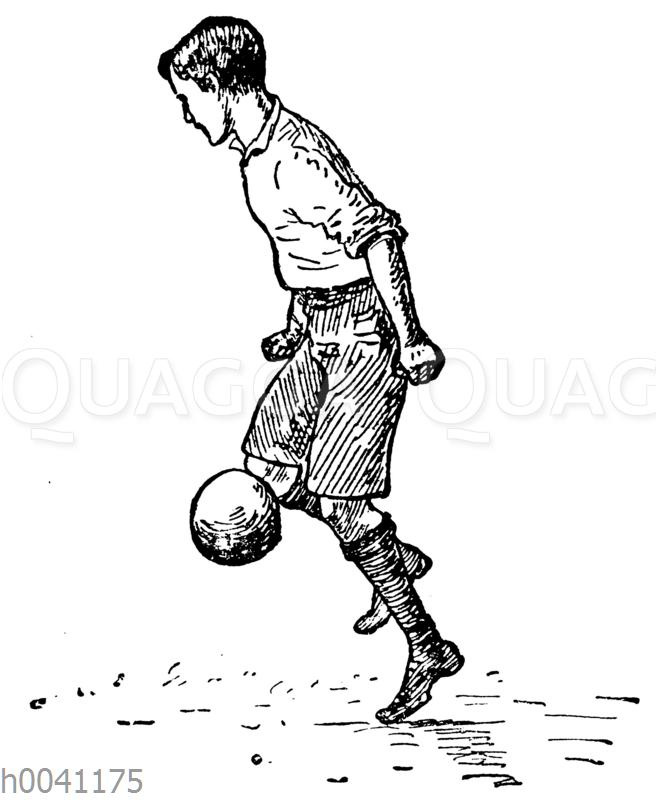 Fußball: Ein dribblender Stürmer