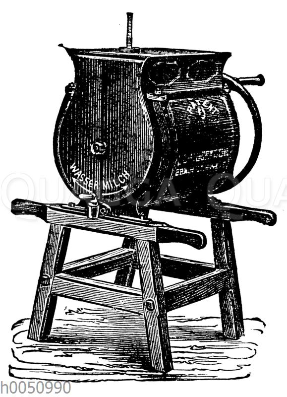 Emaille-Buttermaschine mit Temperier-Vorrichtung