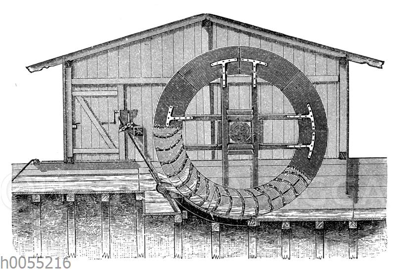 Wassermühle: Mittelschlächtiges Rad mit Überfalleinlauf