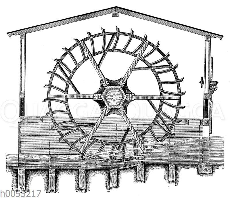 Wassermühle: Unterschlächtiges Wasserrad