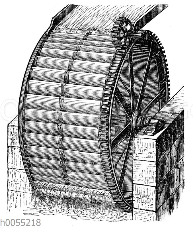 Wassermühle: Oberschlächtiges Wasserrad