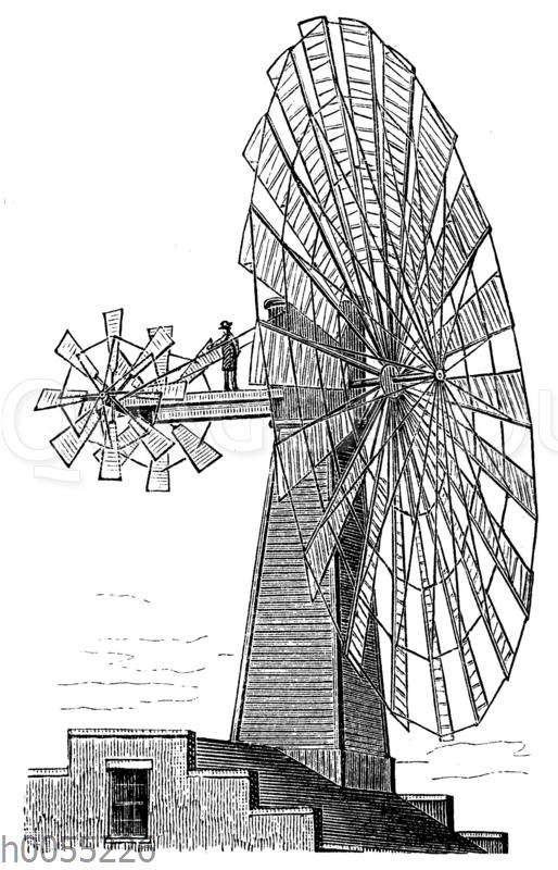 Windrad: Großer Windmotor mit Hilfsrädern