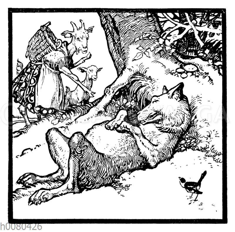 Der Wolf und die sieben Geißlein: Die Mutter und das jüngste Zicklein finden den schlafenden Wolf