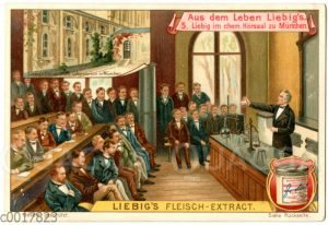 Justus Liebig lehrt im chemischen Hörsal zu München
