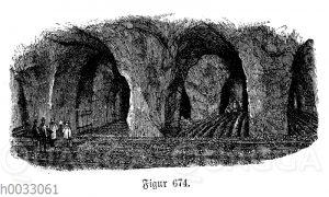 Champignonzucht. Grube unter Montrouge