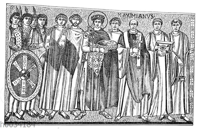 Der byzantinische Kaiser Justinian mit Gefolge