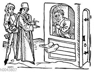 Gefangener im Fußblock. Mittelalterlicher Holzschnitt