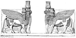 Stierkolosse am Portal des Palastes zu Khorsabad