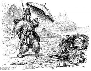 Robinson Crusoe findet Reste der Kannibalenmahlzeit