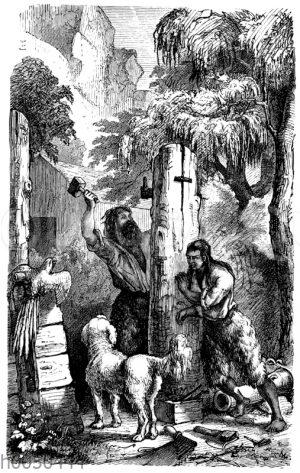 Robinson und Freitag beim Einsetzen der Festungstore