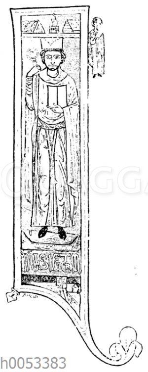 Initiale I aus einem Manuskript des 12. Jahrhunderts