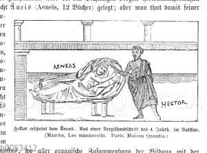 Hektor erscheint dem Äneas. Aus einer Vergilhandschrift des 4. Jahrh.