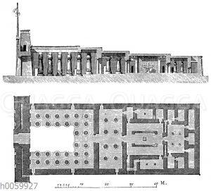 Tempel des Chunsu (Chons) zu Karnak. Längendurchschnitt und Grundriss