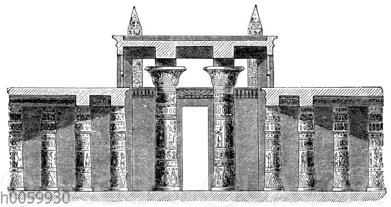 Amuntempel zu Karnak. Durchschnitt des Säulensaals