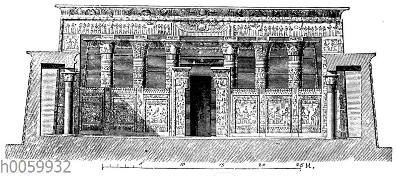 Tempel zu Edfu. Vorderansicht des Säulensaals
