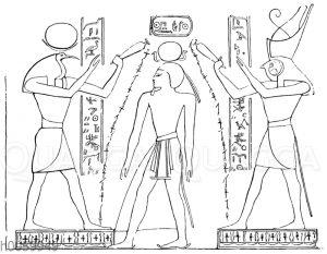 Ramses III. zwischen Thot und Horus