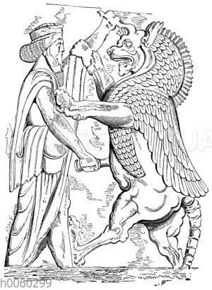 Der König tötet das ahrimanische Tier. Persepolis