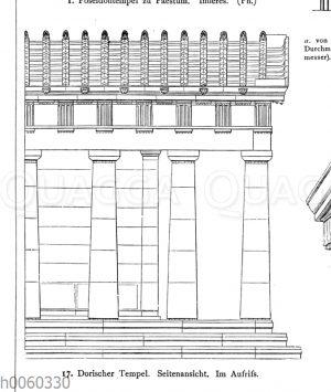 Dorischer Tempel. Seitenansicht