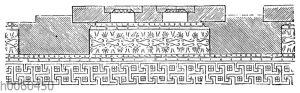 Kalymmatiendecke innerhalb der Säulenhalle