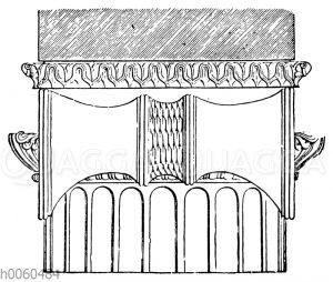 Ionisches Kapitell. Seitenansicht im Aufriss