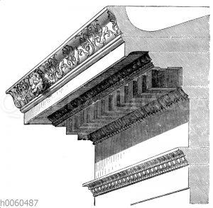 Gebälk des ionischen Tempels