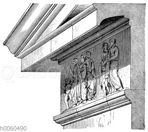 Gebälk des attisch-ionischen Tempels