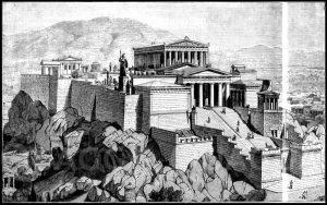 Restaurierte Ansicht der Akropolis