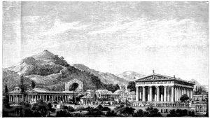 Restaurierte Ansicht des Festplatzes von Olympia