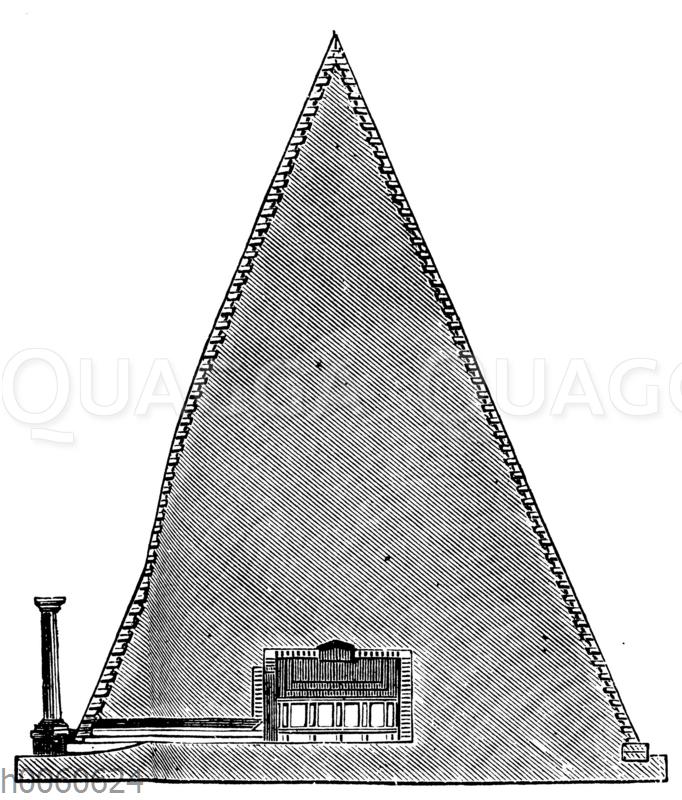 Pyramide des Cestius in Rom. Durchschnitt