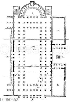 Basilica Ulpia am Forum des Trajan in Rom. Grundriss