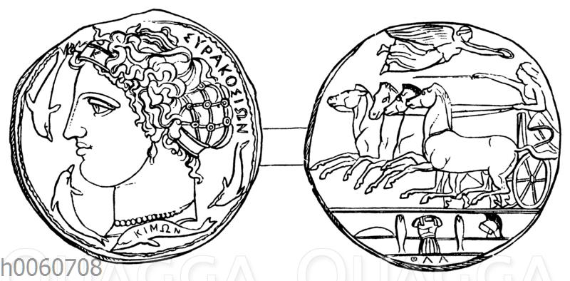 Münze von Syrakus. Sog. Damareteion
