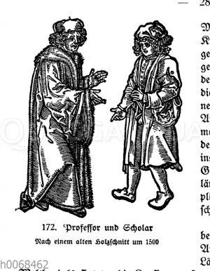Professor und Scholar. Nach einem alten Holzschnitt um 1500