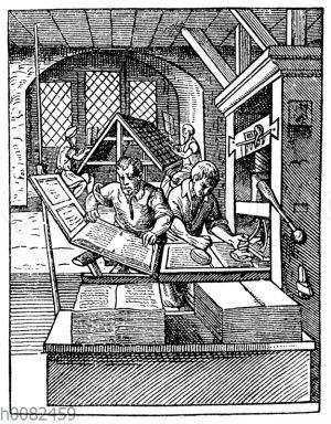 Inneres einer Buchdruckerei des 16. Jahrhunderts