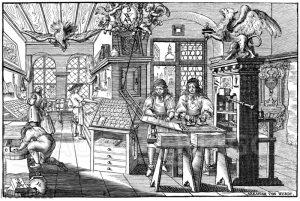 Buchdruckerwerkstätte im 17. Jahrhundert