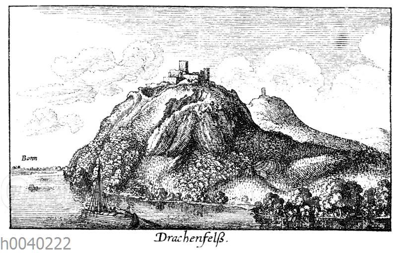 Der Drachenfels am Rhein im siebzehnten Jahrhundert. Faksimile der Radierung von Wenzel Hollar