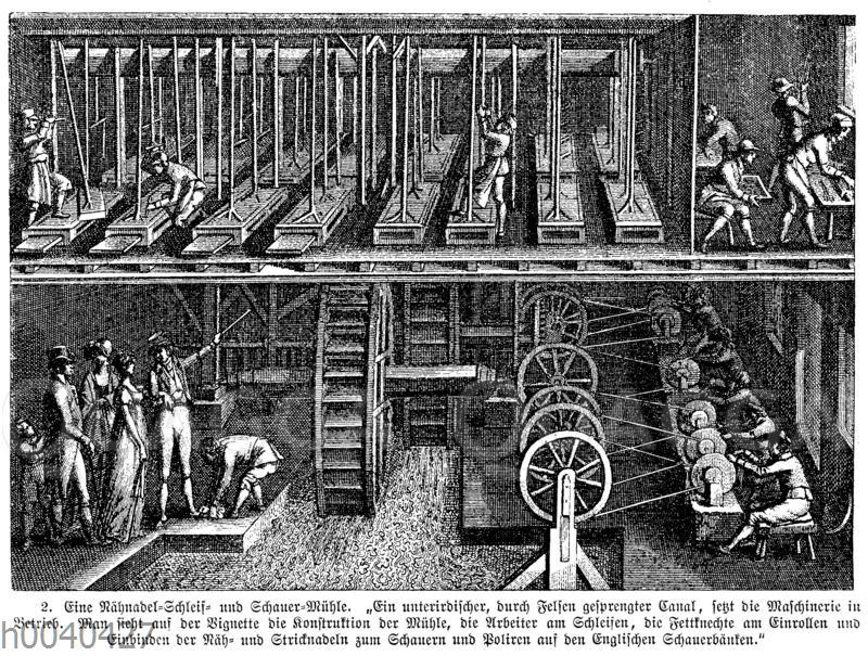 Nähnadel-Schleif- und Schauer-Mühle