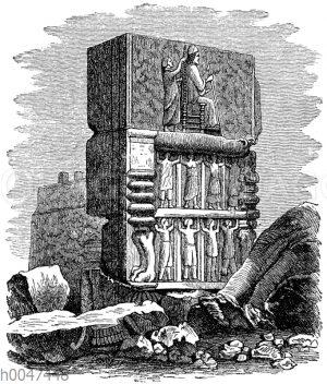 Aus den Ruinen der Hundertsäulenhalle zu Persepolis. Der König Darius auf seinem Thron