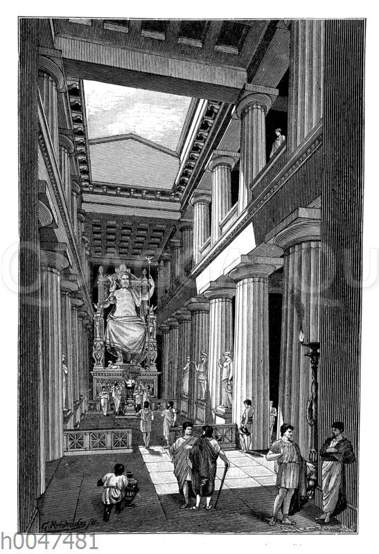 Inneres des Zeustempels in Olympia mit dem Zeusbild des Phidias