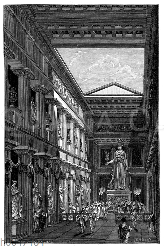 Tella des Parthenon mit dem Standbild der Athena des Pheidias. Rekonstruktion von G. Rehlender