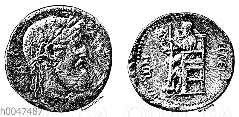 Erhaltene Abbildung des Zeusbildes des Pheidias auf einer Münze