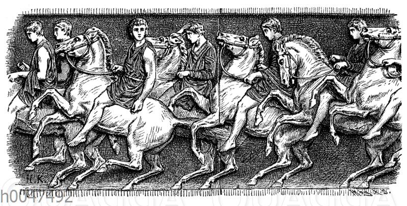 Athenische Jünglinge in Festzuge reitend