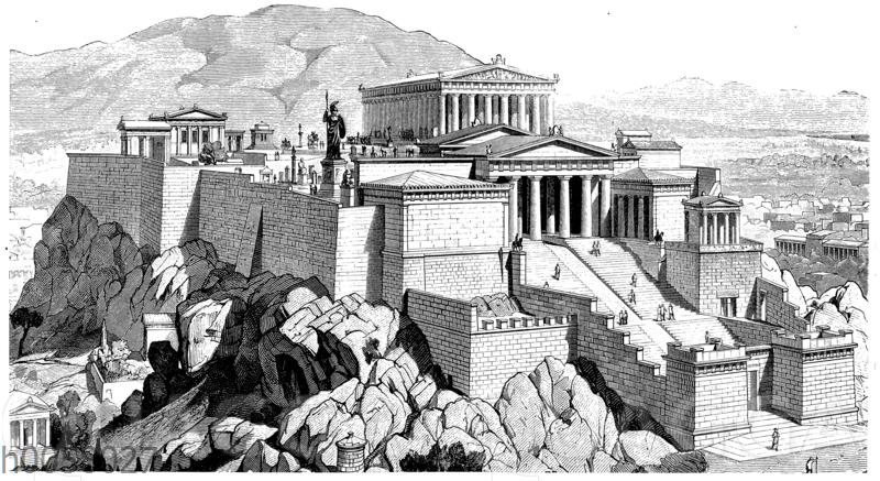 Gesamtansicht der Akropolis zu Athen