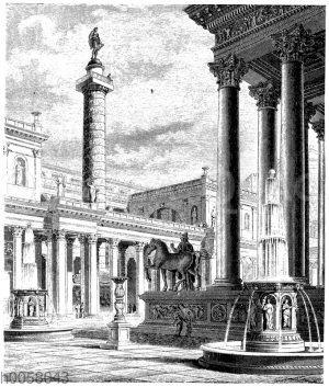 Das Forum und die Säule des Trajan zu Rom