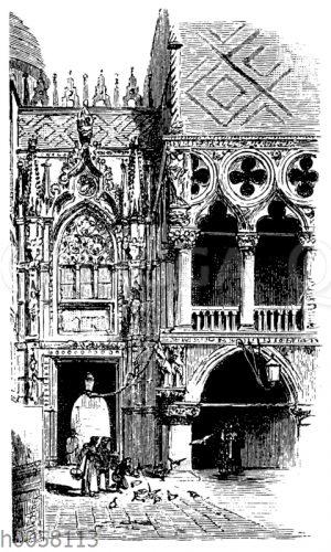 Ecke des Dogenpalasts zu Venedig