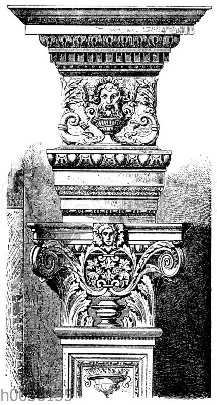 Pilasterkapitell mit Aufsatz vom Triumphbogen im Chor der Kirche S. Maria de Miracoli in Venedig